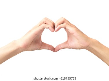 Man hand making heart shape isolated on white background