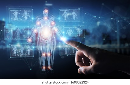 Man hand on blurred background using digital x-ray human body holographic scan projection 3D rendering