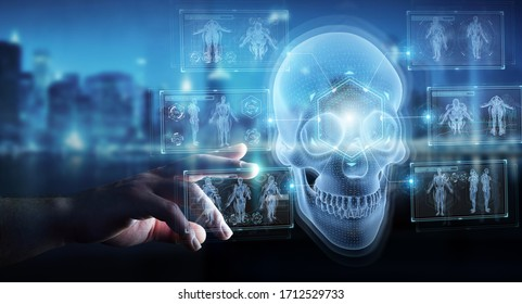 Man hand on dark background using digital x-ray skull holographic scan projection 3D rendering
