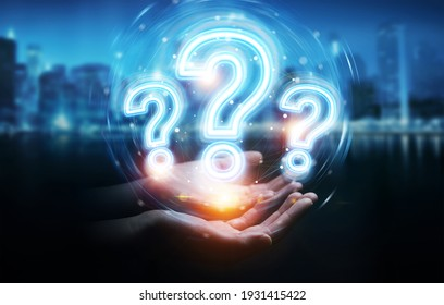 Man hand on dark background using digital question marks holographic interface 3D rendering