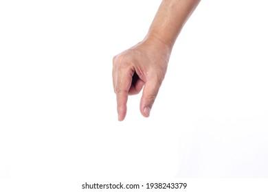 man hand on white backgrounds, finger picking pose.