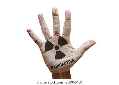 man hand palm painted caution radioactive symbol