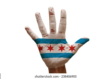 man hand palm painted flag of chicago