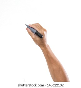 Man hand with pen isolated on white background