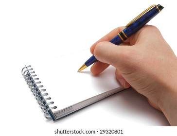 Man hand, pen and notebook over white background