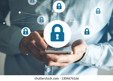 man hand phone with lock in screen