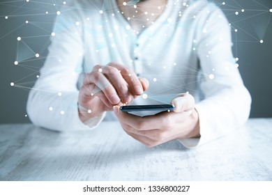 man hand phone with network in screen