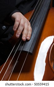 Man hand playing electic contrabass