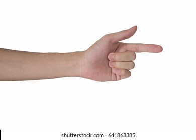 man hand pointing isolated with white background