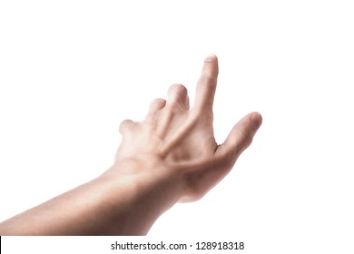 Man Hand Position Touching Screen isolated on white background