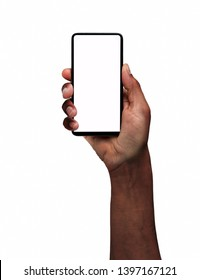 Man hand presenting a smart phone screen application isolated on a white background