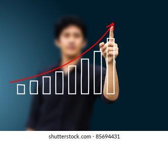 a man hand pressing a chart