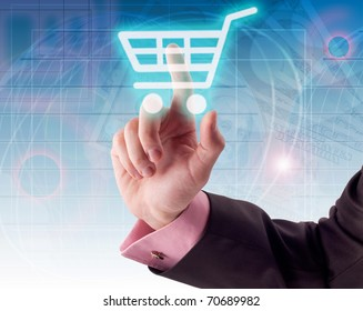 Man hand pressing shopping cart icon