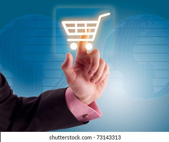 Man hand pressing shopping cart icon.