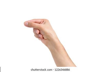 Man hand pulling something isolated on white