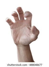 Man hand reach out isolated on white background