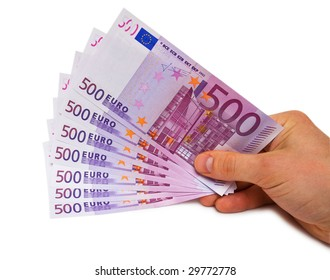 Man hand with several euro bank notes isolated