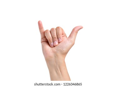 man hand in shaka or calling gesture on a white isolated background