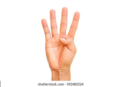 Man hand show four fingers on white background