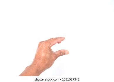 Man hand show holding something isolated on white background.