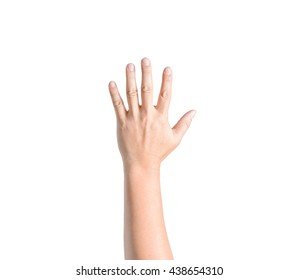 man hand showing five count