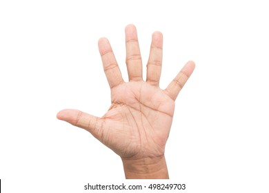 Man hand showing the five fingers