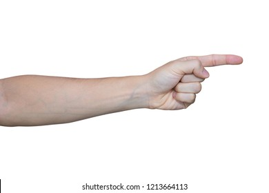Man hand showing one fingers isolated on white background with clipping path.