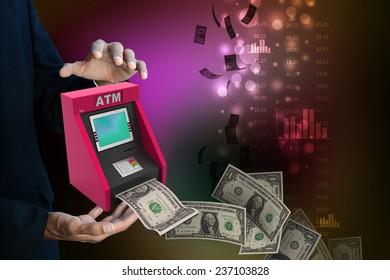 man hand showing  teller machine