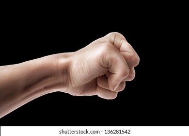 Man hand sign blow isolated on black background
