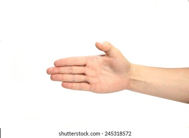 Man hand sign isolated on white
