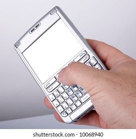 Man hand with a smartphone with blank display. Put your image there.