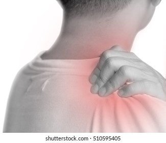 Man with hand squeeze at red spot shoulder as suffering from pain or itchy. Male hurt at shoulder and neck as sick from psoriasis,Thoracic Outlet Syndromes, Rotator Cuff Injury,Bursitis,Fibromyalgia