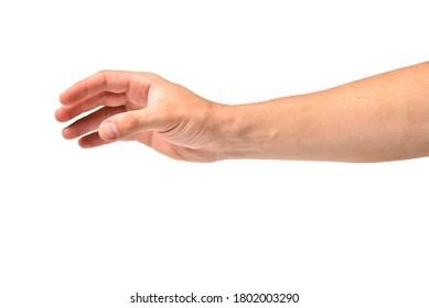 Man hand stretches out to take, arm body part of people isolated on white background. - Shutterstock ID 1802003290