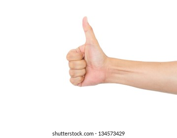 Man hand thumb up sign isolated on white background