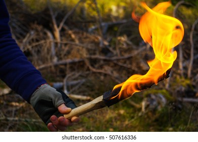 Man hand with torch and flame in wild nature background.