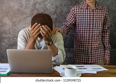 Man hand  touch shoulder colleague are comfort  which help,empathy, support work together for team,respect and trust concept while consoling businessman stressed,suffering in the problem