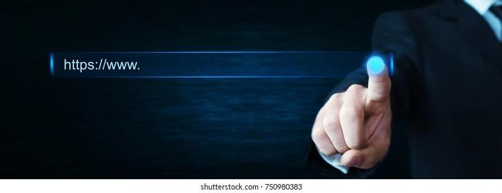 Man hand touching https address.