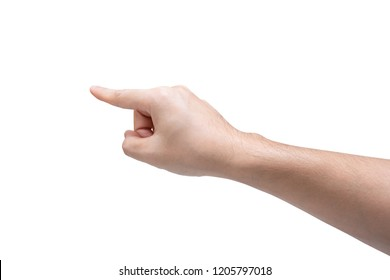 Man hand touching isolated on white background with clipping path.