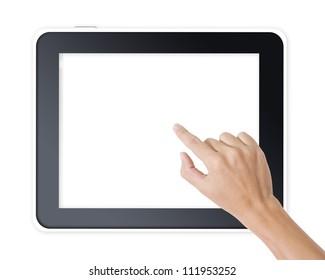 Man hand touching screen on modern digital tablet pc