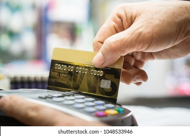 Man hand and use credit card for pay