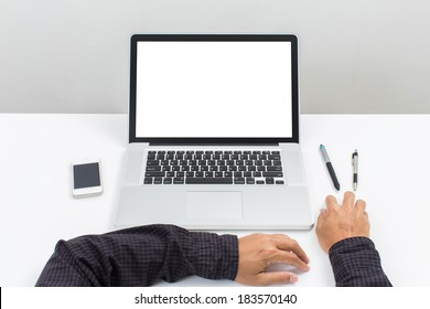 Man hand use Laptop computer with blank screen monitor