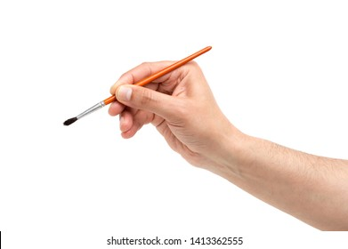 Man hand using a little paintbrush isolated on a white background