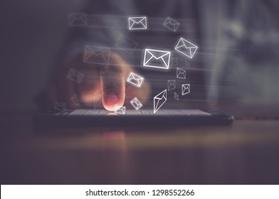 Man hand using phone with email icon, Email concept