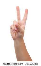 man hand victory sign gesture isolated on white background