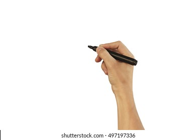 Man hand write something with marker on transparent glass, isolated on white background