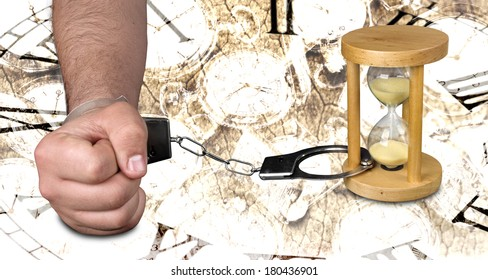 Man handcuffed to an hourglass