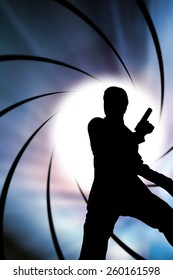 The Man with handguns in diaphragm graphic background