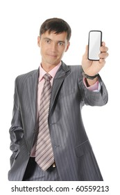 man handing a white phone. Isolated on white background