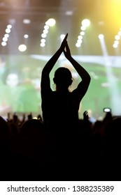 Man with hands up against a music festival scene.