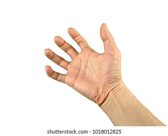 The man hands of beriberi or Dystonia isolated on white background with clipping path.